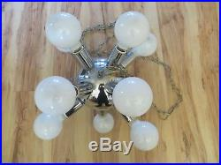 Vintage MID Century Modern Chrome Sputnik Chandelier Hanging 12 Light Lamp