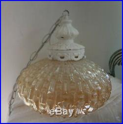 Vintage MID Century Modern French Farmhouse Chic Hanging Swag Lamp Leviton
