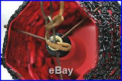 Vintage MID Century Modern Hanging Spaghetti Spun Lucite Acrylic Swag Lamp Light