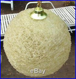 Vintage MID Century Modern Round Orb Lucite Spaghetti Hanging Swag Lamp Fixture