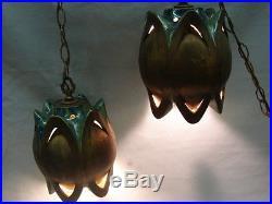 Vintage MID Century Set Of 2 Hanging Ceramic Lamps Bronze Green Blue Unique Rare