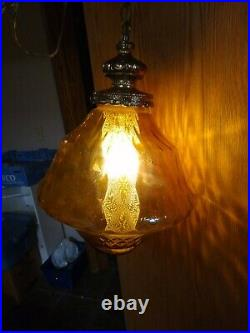 Vintage MID Century Swag Hanging Amber Spinning Top Glass Globe Light Lamp