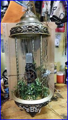Vintage MINERAL OIL RAIN LAMP Gristmill drip motion Hanging Lamp Gold Art Deco