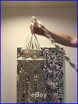 Vintage Macrame Hanging Light Lamp Chandelier Table Shelf