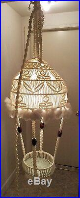 Vintage Macrame Hanging Planter with Light Lamp Shabby Cottage Style Mod Trendy