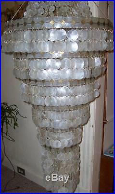Vintage Mammoth5 FOOT Capiz shell 8 tier Hanging Swag LampChandelier