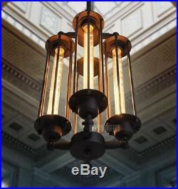 Vintage Matte Black Chandelier Edison Bulb Steampunk Pendant Hanging Lamp T30