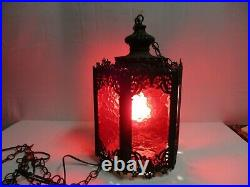Vintage Metal/Plastic Hanging Swag Chain Lamp Light Pendant Mid Century Red