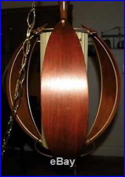 Vintage Mid Century 14 Hanging Swag Light Lamp Teak Wood Danish Modern