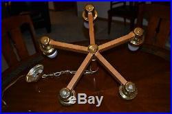 Vintage Mid Century 5 Globe Hanging Light Spoke Lamp Brass Wood Excellent Works