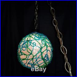 Vintage Mid Century ACRYLIC LUCITE MOD Spaghetti Ribbon Hanging Swag Lamp MINT