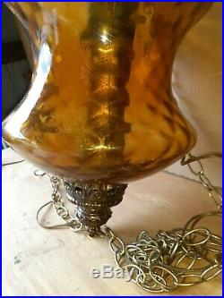 Vintage Mid Century Amber Glass Globe Hanging Swag Lamp Light with Diffuser