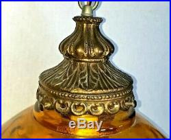 Vintage Mid Century Amber Glass Globe Hanging Swag Lamp Light with Diffuser MCM