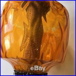 Vintage Mid Century Amber Glass Hanging Swag Lamp Light 22 Height Retro