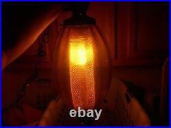 Vintage Mid Century Amber Glass Swag Hanging Light Lamp Gold Diffuser