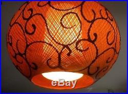 Vintage Mid-Century Atomic Spaghetti 1960's Fiberglass Hanging Swag Lamp Light
