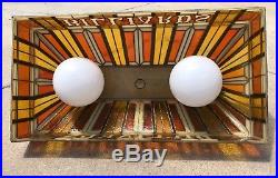 Vintage Mid Century BILLARDS Pool Table Man Cave Bar Light Lamp Hanging SUPERB