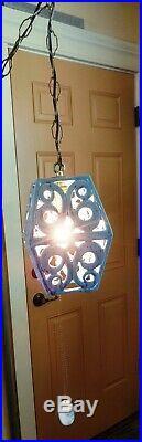 Vintage Mid-Century Blue Glazed Ceramic Hanging Light Swag Lamp