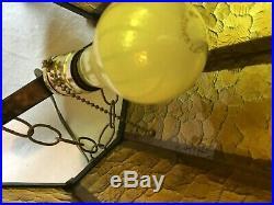 Vintage Mid Century Bohemian Hanging Amber Shade Lamp Light Gothic Church