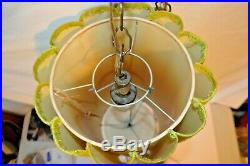 Vintage Mid Century Ceiling Hanging Swag Lamp / Light 20 X 10. Groovy Green