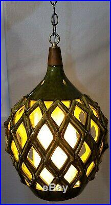 Vintage Mid-Century Ceramic Pottery Hanging Light Swag Lamp Works