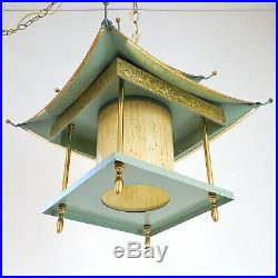 Vintage Mid-Century Chinoiserie Asian Green Pagoda Hanging Swag Lamp Light Retro