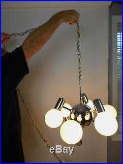 Vintage Mid Century Chrome Sputnik Atomic Hanging Light Lamp