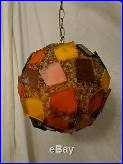 Vintage Mid Century Chunky Lucite Rock Candy Hanging Swag Lamp Spaghetti Tested