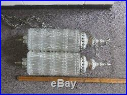 Vintage Mid Century Crystal Glass Hanging Light Fixture Double Pendant Swag lamp