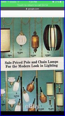 Vintage Mid Century Danish Hanging Lamp Wood Light Fixture MCM Swag