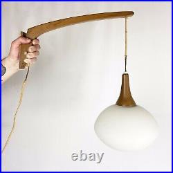 Vintage Mid Century Danish Modern Teak Wood Swing Arm Wall Hanging Sconce Lamp