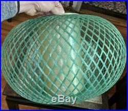 Vintage Mid Century Fiberglass Circular Orb Hanging Pendant Swag Lamp Light