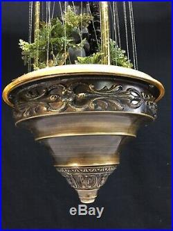 Vintage Mid Century Grist Waterwheel Hanging Swag Motion Rain Waterfall Lamp
