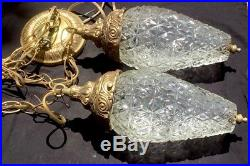 Vintage Mid Century HOLLYWOOD REGENCY Hanging Glass & Brass Swag Double Lamp