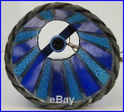 Vintage Mid Century Hand Made Blue Stained Glass Hanging Swag Light Lamp Tested