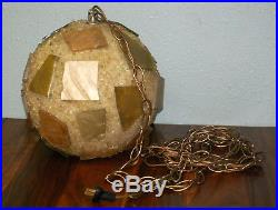 Vintage Mid Century Hanging Chunky Lucite Resin Rock Candy Swag Lamp Light 40