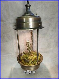 Vintage Mid-Century Hanging Mineral Oil Rain Lamp Bathing Nude Woman Goddess