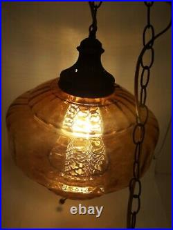 Vintage Mid Century Hanging Swag Amber Glass Globe UFO Lamp