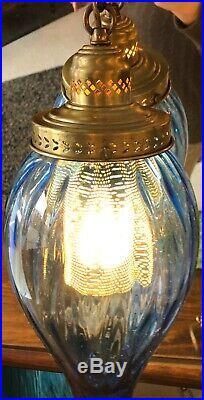 Vintage Mid Century Hanging Swag Lamp Light Rare Shape Gorgeous Blue 16 Tall