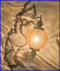 Vintage Mid-Century Hanging Swag Lamp Orange Globe