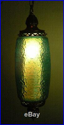 Vintage Mid-Century Hanging Swag Light Lamp with Aqua Blue Glass Globe & Diffuser