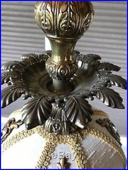 Vintage Mid Century Hollywood Regency 2 Tier Hanging Swag Lamp Light Chandelier