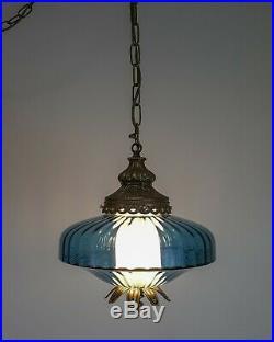Vintage Mid-Century Hollywood Regency Blue Italian Glass Hanging Swag Lamp Light