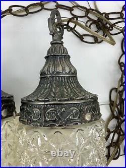Vintage Mid Century Hollywood Regency Light Fixture Double Pendant Swag lamp