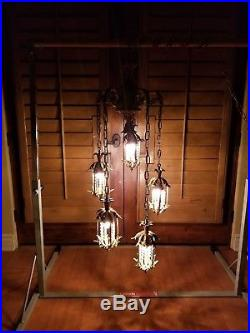 Vintage Mid Century Hollywood Regency Swag Lamp Chandelier Hanging Light Fixture
