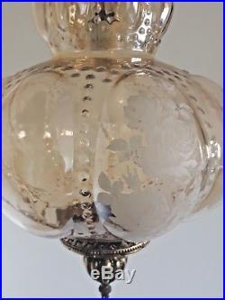 Vintage Mid Century Honey Amber Glass Brass Hanging Light 26x44 Large Swag Lamp