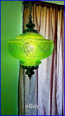 Vintage Mid-Century Large Green Crackle Glass Hanging Swag Lamp Light Retro