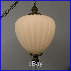 Vintage Mid Century Large Opaque White Glass Hanging Swag Lamp Pull Chain Light