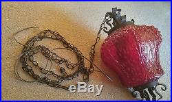 Vintage Mid Century Large Red Decorative Glass Swag Hanging Lamp