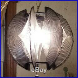 Vintage Mid Century Lucite Atomic Retro Nylon String Hanging Swag Lamp